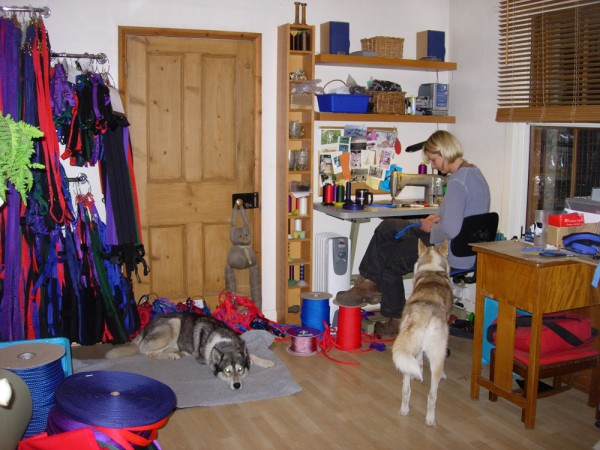 Ali and helpers in the workroom